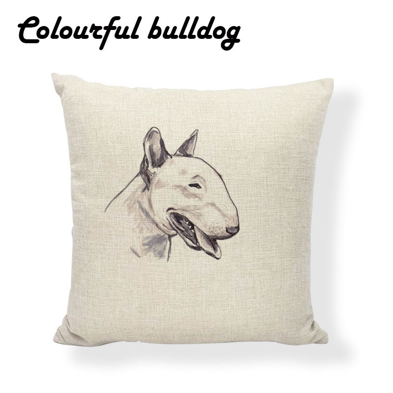 Animal Bull Terrier Cushion Covers Nature Car Seat Labrador Dachshund Pillows Linen Home Accessories Christmas Fundas De Cojines