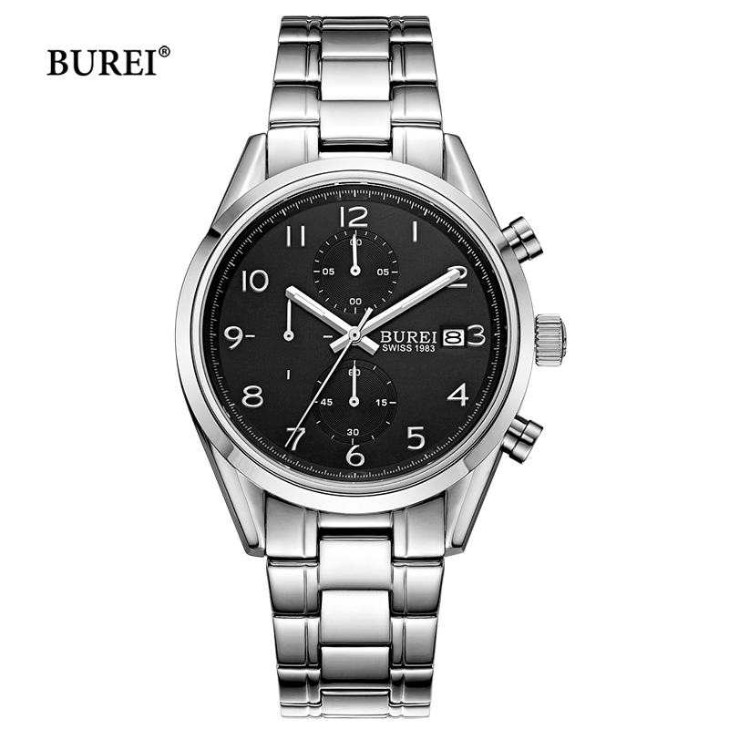 BUREI Brand Watch Waterproof Sapphire Crystal Chronograph Quartz Wrist Watch Man Army Military Sport Clock Men Relogio Masculino seiko watch premier series sapphire chronograph quartz men s watch snde23p1
