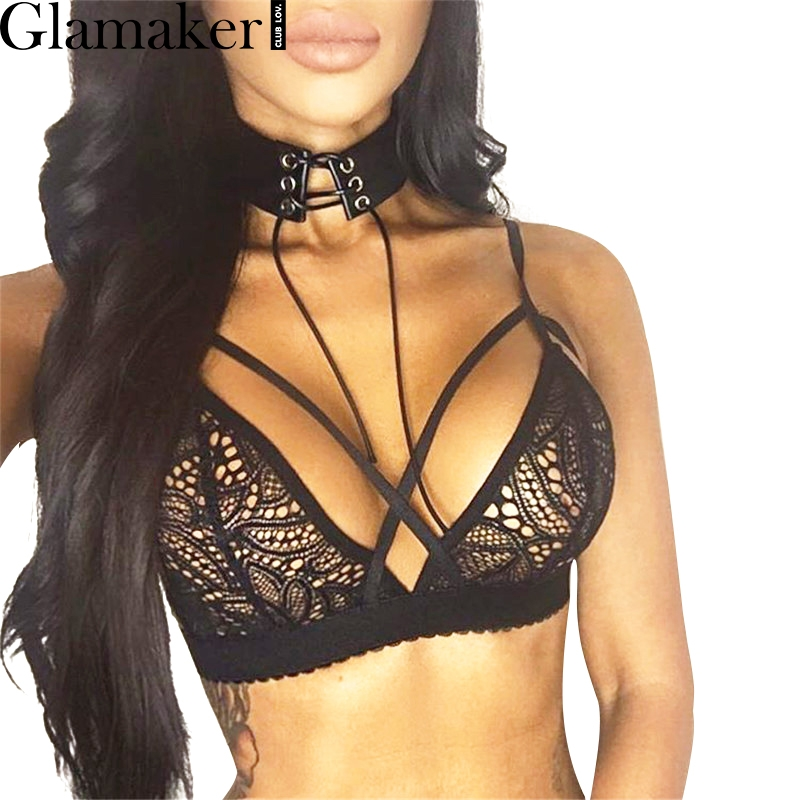 Glamaker Sexy hollow out bralette lace bra brassiere Backless floral strappy bra unpadded Elegant party women lingerie 2017