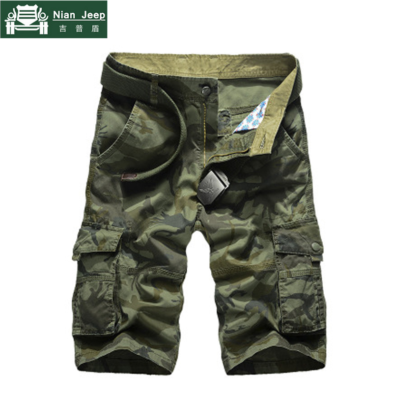 NIANJEEP Summer Camouflage Cargo Short Men 2018 New Loose Casual Short Regular Cotton Pockets Military Trousers Pants No Belt