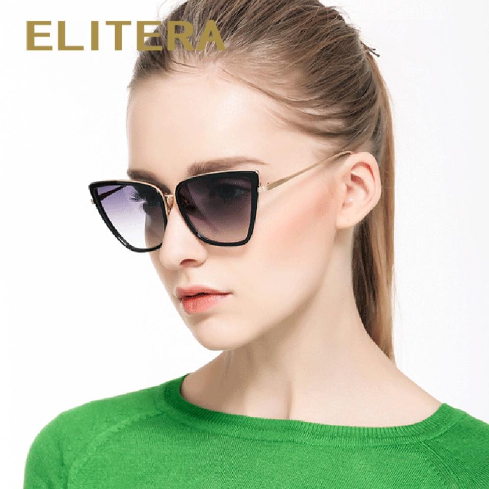ELITERA New Brand Designer Cat Eye Women Sunglasses Female Sun Glasses Famous Alloy Legs Glasses Oculos