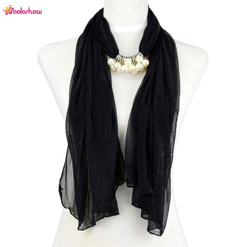 AOLOSHOW Fashion scarf necklace for women imitation pearl charms scarf thin chiffon scarf jewelry chiffon beach scarves NL-2003