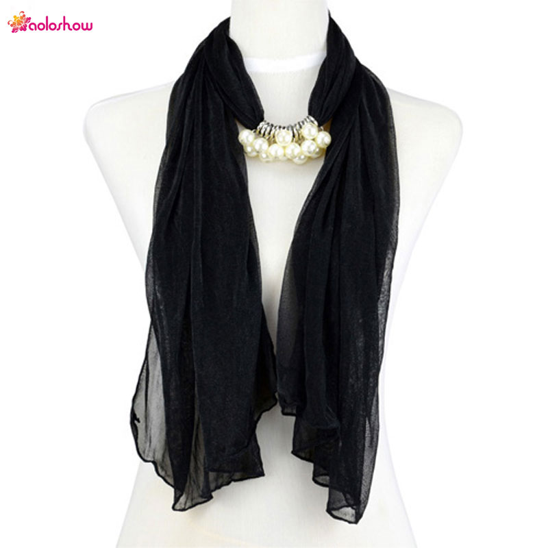 AOLOSHOW Fashion scarf necklace for women imitation pearl charms scarf thin chiffon scarf jewelry chiffon beach scarves NL-2003