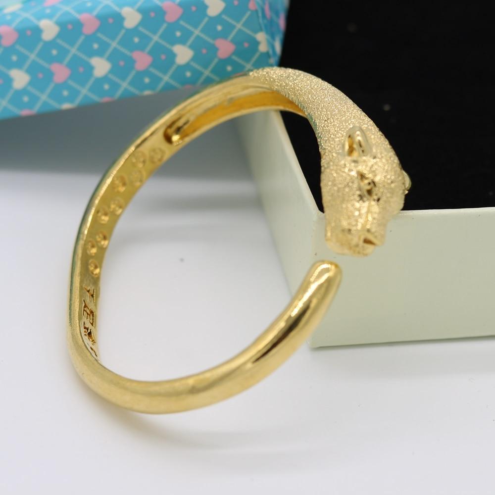 Cabeça de Leopardo Pulseira de Ouro Sólidos para Mulheres dos Homens Estilo o Mais Amarelo Cheio Pulseira Novo