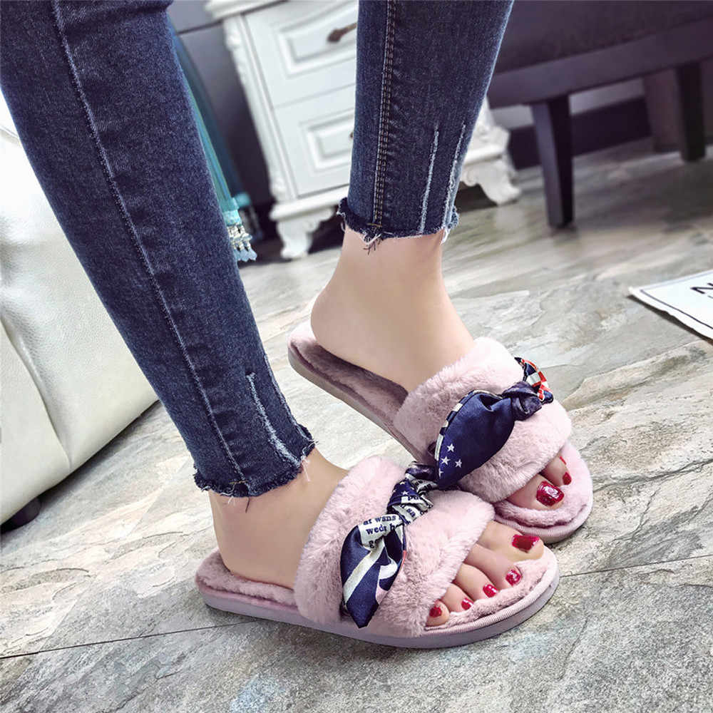 Mode Dias Hausschuhe Frauen pelz rutschen Damen Slip Auf Sliders Flauschigen Faux Pelz Flache Hausschuhe Flip Flop Sandalen zapatos de mujer
