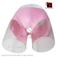 Sexy ropa interior calzoncillos de condones de Látex De Goma de Látex bragas pudendum labio Pink Butt Anal condón KZ-010 panty más tamaño XXL