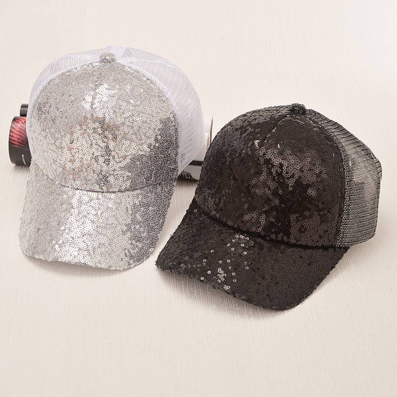 womens sequin baseball cap ladies caps summer adjustable hat hip hop font rock style rivet pink sparkle
