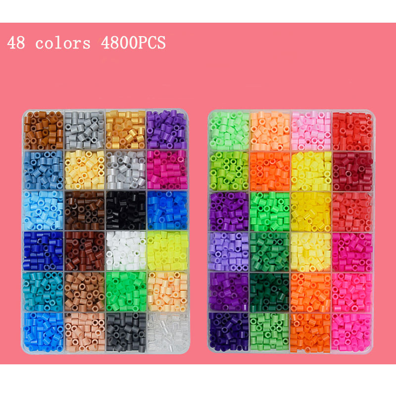 48 Colors Hama beads 5mm Perler Beads 4800 pcs Craft DIY Handmaking Fuse blocks Educational toy for Kids Children все цены