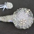 Серебро Шаровое брошь букет кристалл Люкс Свадебный Букет на заказ Творческий Роскошные ручки Невесты букеты