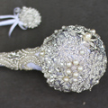 Silver Globular brooch bouquet Bridal crystal Wedding Bouquet  custom made Creative Luxury handle Bride 's bouquets