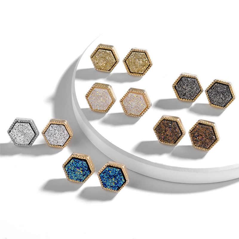 YJX0128 女性のかわいい幾何フレーム六角オーバルゴールドブルー Druzy スタッドピアス卸売カスタム Drusy ジュエリー