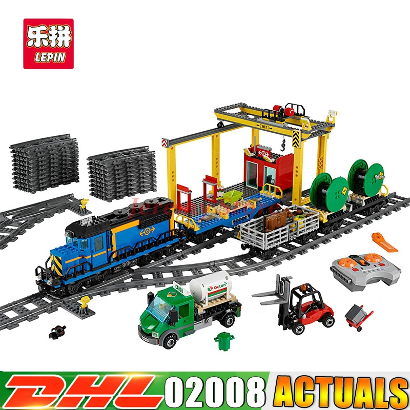 Lepin 02008 Genuine 959Pcs City Series The Cargo Train Set 60052 Building Blocks Bricks Educational Toys As Boy`s Christmas Gift the new jjrc1001 lepin city construction series building blocks diy christmas gift for kid legoe city winter christmas hut toy