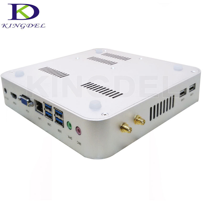 Envío gratis sin ventilador i3 PC Industrial Intel i3 4005U 4010U Barebone Mini ordenador 2 * COM opcional, USB3.0 1080 P 3Y garantía