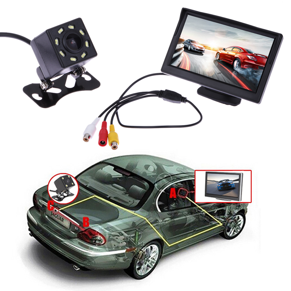 VODOOL Waterproof Car Rear View Camera with Night Vision Backup Camera and 5 inch TFT Monitor 9