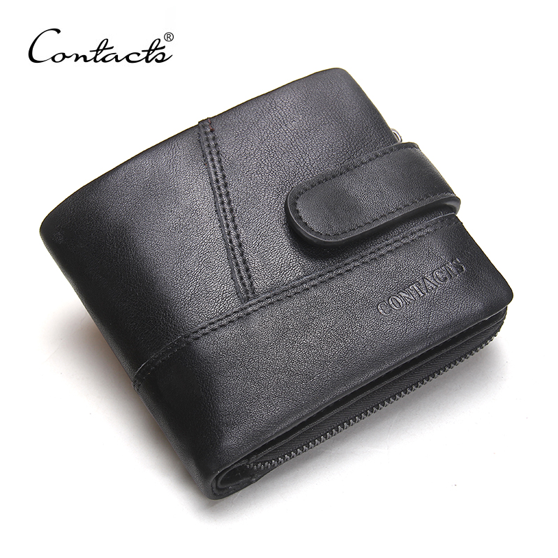 CONTACT'S Genuine Cow Leather Men Wallets Casual Hasp Purse Card Holder Small Wallet Zipper Design Dollar Price Male Wallet hot sale 2015 harrms famous brand men s leather wallet with credit card holder in dollar price and free shipping