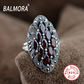 New Elegant 100% Real 925 Sterling Silver Jewelry Red Garnet Retro Rings for Women Party Wedding Ring Best Gifts SLS20042