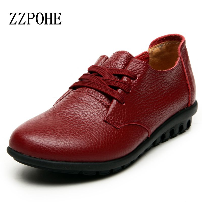 ZZPOHE Leather lace flat women's shoes ladies leisure comfortable soft leather shoes Spring and autumn new mothers work shoes 2017 spring and summer new leather men leisure low to help peas shoes soft and comfortable sets of feet driving shoes