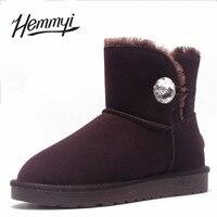Hemmyi lederen koe suède enkellaars voor vrouwen winter australische stijl rhinestones snowboots vrouwelijke botas warme schoenen
