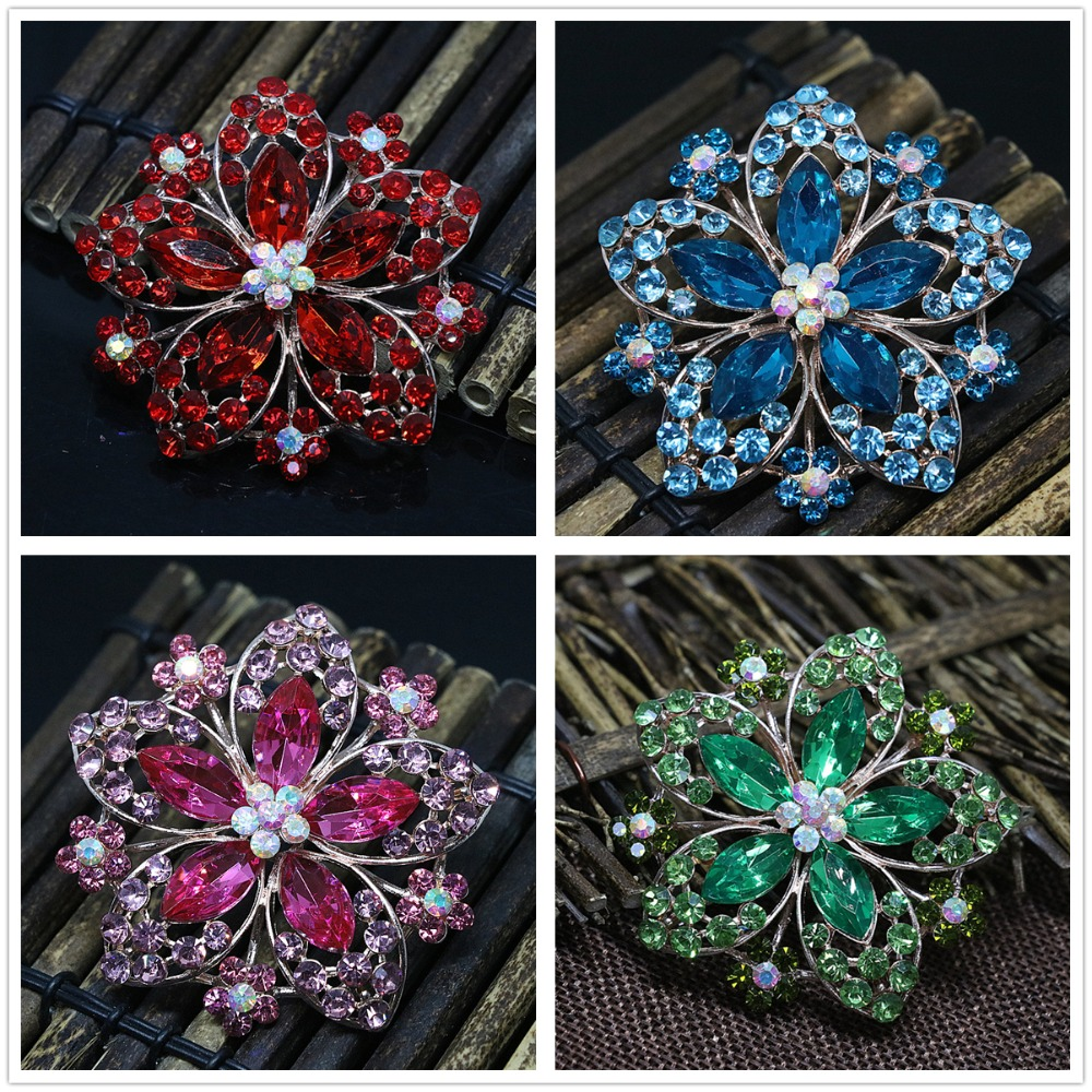 Aliexpress Com Buy 1440pcs Gold Bottom Crystal Clear: European Style Rose Gold Color Large Flower Brooches For