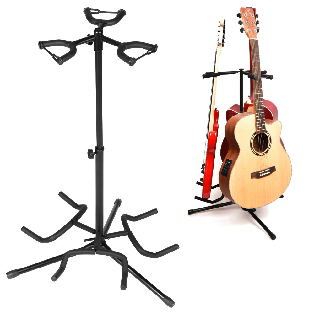 universal guitar stand in black folding tripod stand for acoustic classical electric guitar. Black Bedroom Furniture Sets. Home Design Ideas