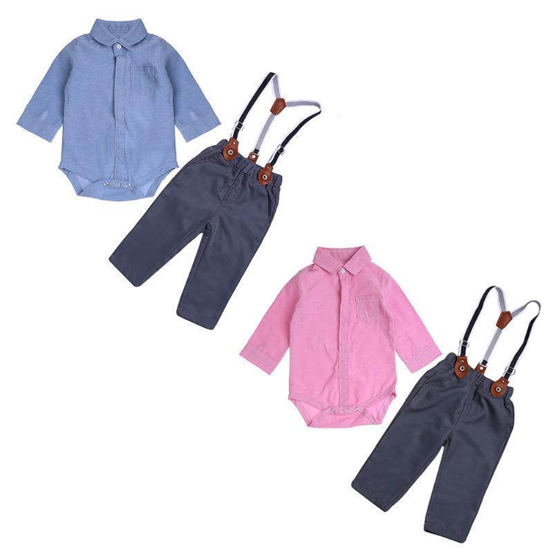 Toddler Kids Plaid Long Sleeves Pocket Solid Romper+Suspender Pants 2pcs/Set Overalls Cotton Comfortable Clothes Set