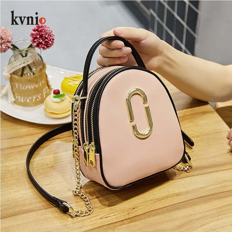 KVNIO Fashion PU Leather Bag Women Messenger Shoulder Bag Multifunction Mini Handbags Designer 3 Zipper Crossbody Bags 2018