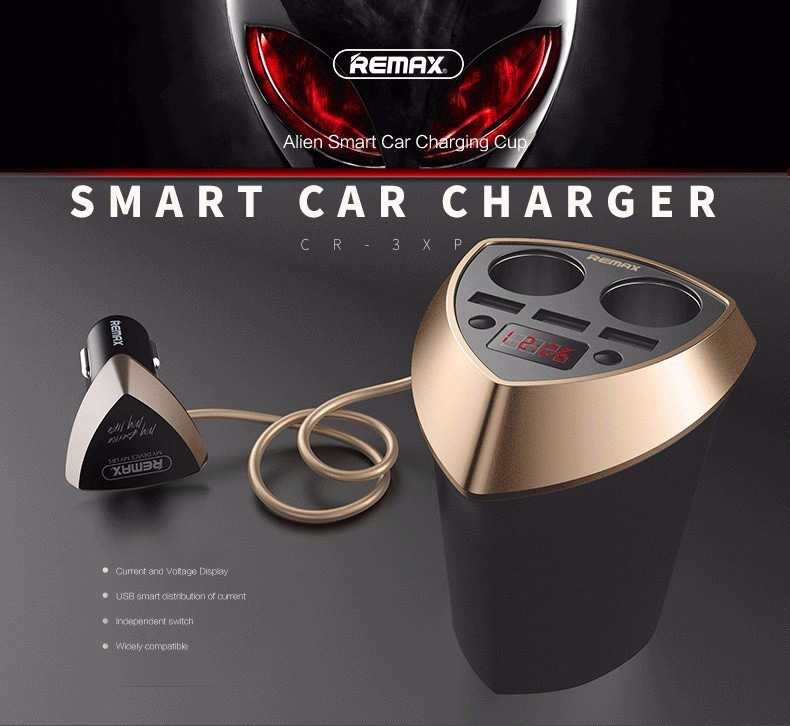 <font><b>Remax</b></font> 3.4A Smart Cup Car <font><b>Charger</b></font> Cigarette Lighter Adapter with LED display 3 USB Port Dual <font><b>Charger</b></font> Port for iPhone for Samsung