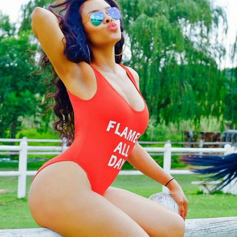 Women Sexy Low Back FLAMES ALL DAY Funny Letter Swimwear One Piece Style Swimsuit Jumpsuit Rompers