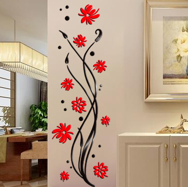 2015 Phalaenopsis 3D Crystal Acrylic Stickers Walkway Entrance Corridor Wall  Stickers Wall Decoration Backdrop Part 54