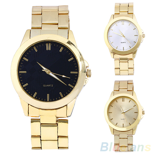 Unisex Men's Women's Gold Tone Alloy Strap Round Case Analog Quartz Wrist Watch 4VPH