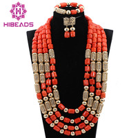2017 African Coral Beads Jewelry Set Exclusive Long Coral Bridal Necklace Set 29inches Wedding Free Shipping ABH272