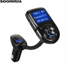 SOONHUA автомобильное зарядное устройство с светодиодный дисплеем беспроводной Bluetooth автомобильный комплект громкой связи fm-передатчик для музыкальный плейер в машине поддержка AUX Play