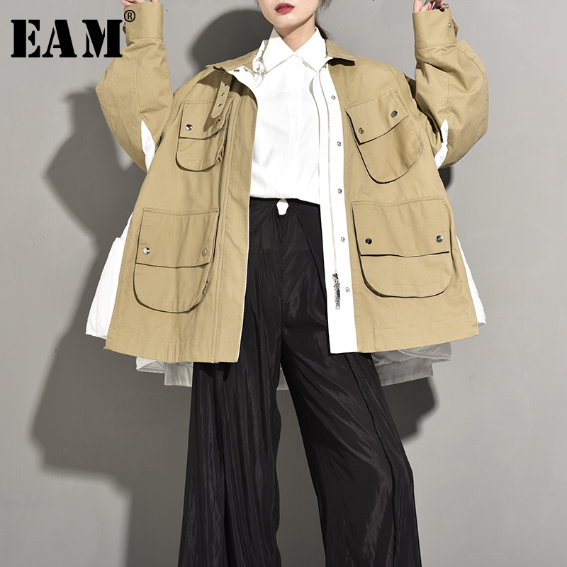 EAM 2019 New Autumn Winter Stand Collar Long Sleeve Khaki Hit Color Split Big Pocket