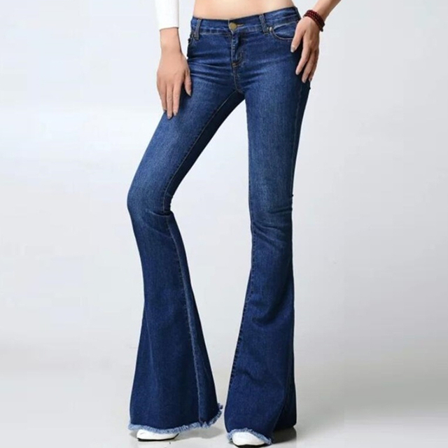 Calças de ganga Para Mulheres Moda Jeans Queimado Estilo Retro Sino Jeans  Fundo Fêmea Sexy Mulher ddb5b065a6