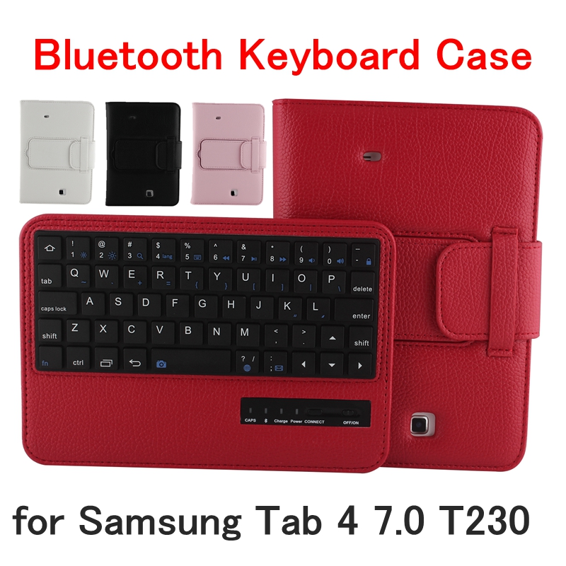 Detachable Bluetooth Keyboard For Samsung Galaxy Tab 4 7.0 T230 Tablet Case Flip Leather Stand Keyboard Cover Fashion Capa Funda luxury flip stand case for samsung galaxy tab 3 10 1 p5200 p5210 p5220 tablet 10 1 inch pu leather protective cover for tab3