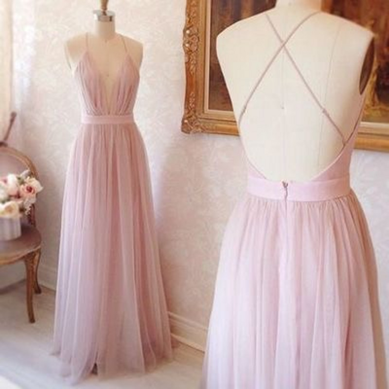 Deep V-Neck Organza Long Bridesmaid Gowns Navy Blue/Ivory/Champagne/Silver/Hunter/Pink Tulle Bridesmaid Dresses Fast Shipping