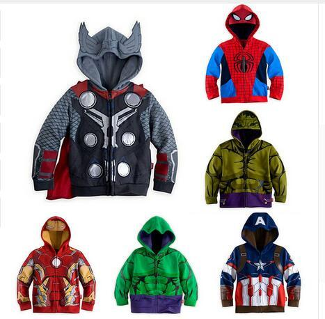 Iron Man Spider-man Hulk Thor Halloween Niños Bebés Prendas de Abrigo Abrigos Para Niños Kids Otoño Sudaderas, Hoodies Chaqueta de Regalo de Navidad