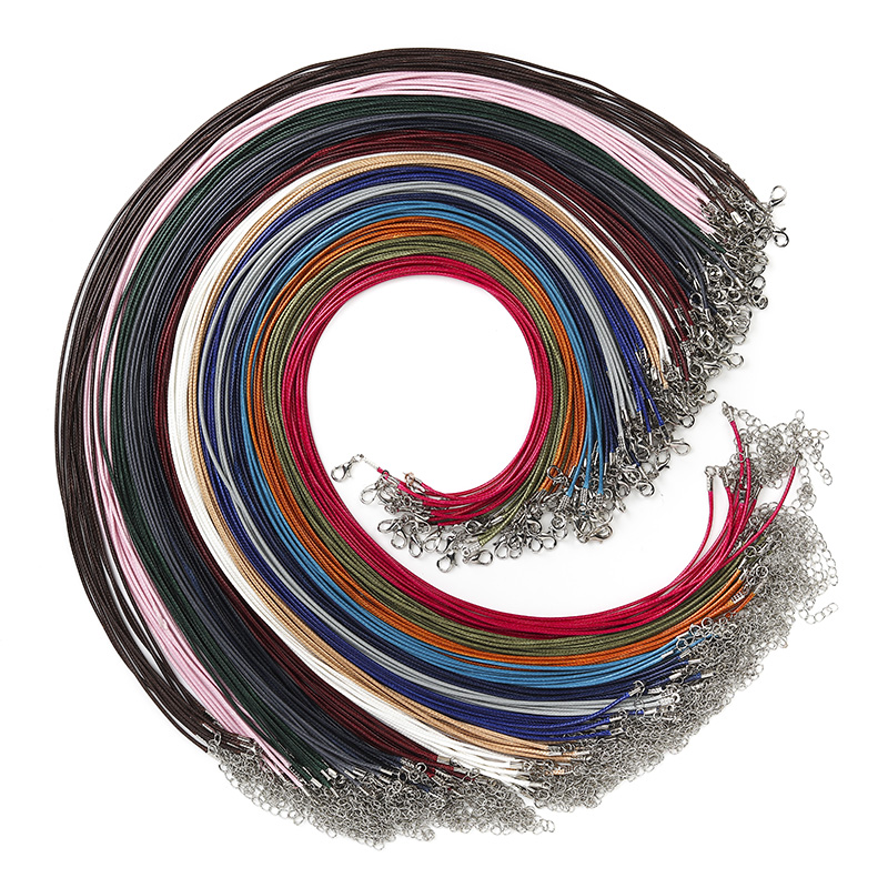 LanLi 75pcs150pcs Fashion Ten five colours Wax Rope Chain Necklace Long Lobster Clasp DIY Jewelry Accessories 1.52.0