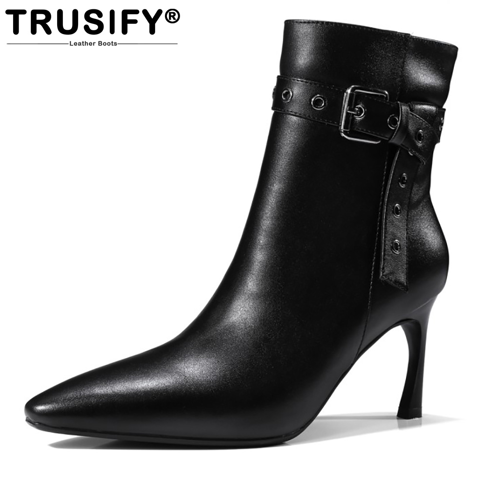 TRUSIFY 2018 Oh*artificialj Cow Leather Mid Calf Zip Short boots Pointed Toe High Hoof Heels Buckle Knight boots Woman Boots lukuco pure color women mid calf boots microfiber made buckle design low hoof heel zip shoes with short plush inside
