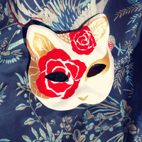 Half Face Japanese Style Hand Painted Fox Mask Rosa Pattern Cosplay Masquerade For Party Halloween