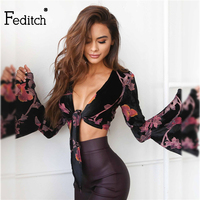 Beetone Crop Tops Women 2017 Fashion Feminina Vintage T Shirt Women Sexy Deep V Neck Floral