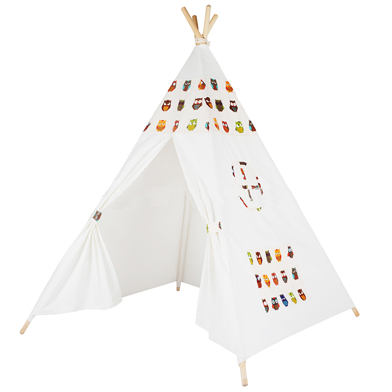 Child Toy Tent Four Poles Cartoon Owl Children Play Teepees Kids Tipi Tent Cotton Canvas Teepee White Play House for Baby Room beyou lovely pink blue cloud design 4 poles kids teepees oy tent for children girls play tent canvas folding tipi by0119