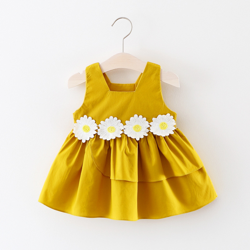 1-3 years todder girls summer new style fashion birthday party dresses kids girl daisy flower princess sleeveless Tutu dress