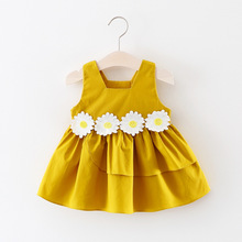 1-3 years todder girls summer new style fashion birthday party dresses kids girl daisy flower princess sleeveless Tutu dress стоимость