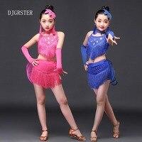 DJGRSTER 5-15 년 어린이 댄스 장갑 장식 조각 라틴어 드레스 등이없는 프린
