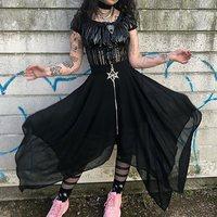 Gothic Maxi Skirt Women Summer 2019 Asymmetrical Mesh Black Streetwear Fashion Pentagram Zipper High Waist Goth Girl Long Skirts