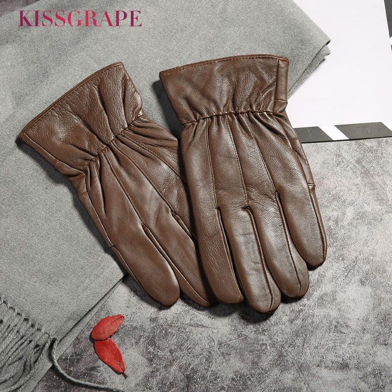 Genuine Leather Men Fashion Warm Brown Gloves Winter Fleece Thick Warm Glove Driving Gloves Men Gloves Autumn Plus Velvet Mitten