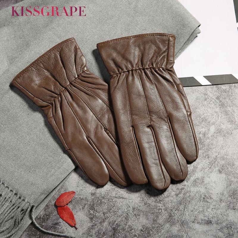 Genuine Leather Men Fashion Warm Brown Gloves Winter Fleece Thick Warm Glove Driving Gloves Men Gloves Autumn Plus Velvet Mitten
