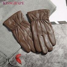 Genuine Leather Men Fashion Warm Brown Gloves Winter Fleece Thick Glove Driving Autumn Plus Velvet Mitten