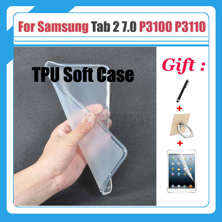 For Samsung Galaxy Tab2 Tab 2 7.0 P3100 P3110 P3113 7 Tablet case Soft Silicone TPU Back Cover Case Protective shell + 3 Gifts
